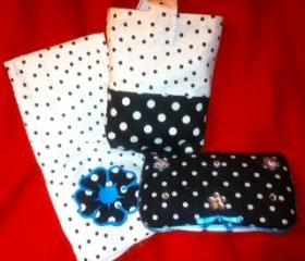 Black white dot with Teal blue accent Diaper Pouch set